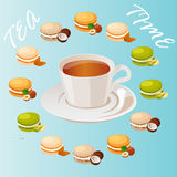 Cup of tea. Very high quality original trendy vector illustration cup of tea and macaroons cookie with different taste Stock Image