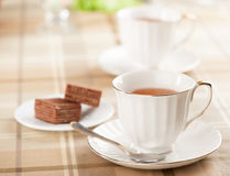 Cup of tea and waffles Royalty Free Stock Image