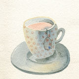 Cup of tea watercolor illustration Royalty Free Stock Photography