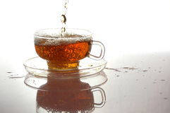Cup of tea on white with reflection Stock Image