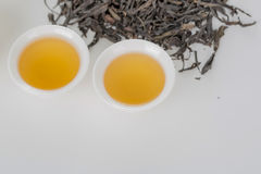 Cup of tea. White cup of tea on the white table. Tea set, Still Life, Chinese elements Stock Photo