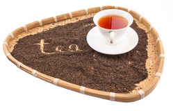 A Cup of Tea In Wicker Tray II Royalty Free Stock Image