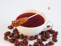 Cup of tea wild rose hips. Cup of tea with wild rose hips and sugar sticks close-up Stock Image