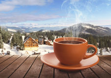 Cup of tea on winter background Stock Photography
