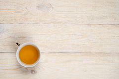 Cup of tea on wood with space
