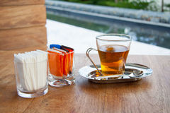 Cup of tea on wood table. Royalty Free Stock Photo