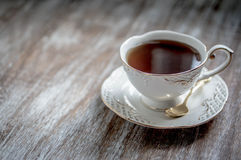 Cup of tea on wooden background Stock Images