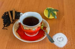 Cup of tea on a wooden background. royalty free stock photos