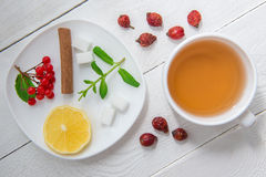 Cup of tea and on the wooden background Royalty Free Stock Photos