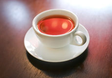 Cup of tea on wooden table Royalty Free Stock Images