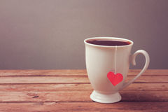 Cup of tea on wooden table. Mother's Day celebration concept Stock Image