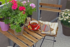 Cup of tea on a wooden table Stock Image