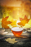 Cup of tea on a wooden window sill with autumn leaves against the window with raindrops Royalty Free Stock Images