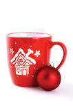 Cup of tea with xmas decoration Royalty Free Stock Photography