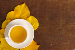 Cup Of Tea And Yellow Autumn Leaves Royalty Free Stock Photo