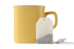 Cup and teabag. Isolated cup and teabag with clipping paths Stock Photos