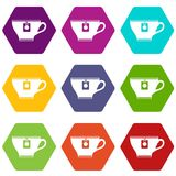 Cup with teabag icon set color hexahedron Stock Photos