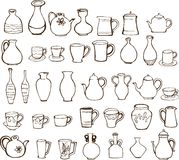 Cup and teapot design elements. In black and white Royalty Free Stock Images