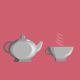 Cup and teapot. On a red background. It can be used as icons Royalty Free Stock Photos