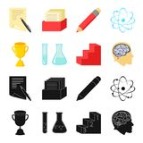A cup, test tubes with a reagent, a pedestal, a man head with a brain. School set collection icons in black,cartoon. Style vector symbol stock illustration Royalty Free Stock Photos