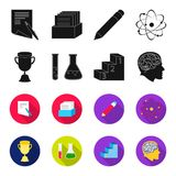 A cup, test tubes with a reagent, a pedestal, a man head with a brain. School set collection icons in black,flet style. Vector symbol stock illustration Stock Image