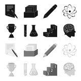 A cup, test tubes with a reagent, a pedestal, a man head with a brain. School set collection icons in black,monochrome. Style vector symbol stock illustration Stock Images