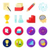 A cup, test tubes with a reagent, a pedestal, a man head with a brain. School set collection icons in cartoon,flat style. Vector symbol stock illustration Royalty Free Stock Photography