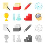 A cup, test tubes with a reagent, a pedestal, a man head with a brain. School set collection icons in cartoon,monochrome. Style vector symbol stock illustration Royalty Free Stock Photography