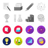 A cup, test tubes with a reagent, a pedestal, a man head with a brain. School set collection icons in monochrome,flat. Style vector symbol stock illustration Royalty Free Stock Image