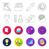 A cup, test tubes with a reagent, a pedestal, a man head with a brain. School set collection icons in outline,flet style. Vector symbol stock illustration Royalty Free Stock Image