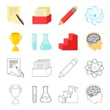 A cup, test tubes with a reagent, a pedestal, a man`s head with a brain. School set collection icons in cartoon,outline. Style vector symbol stock illustration Stock Images