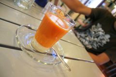 Cup of Thai tea. In cafe at the seaside stock photography