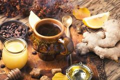 Therapeutic tea with ginger Stock Photo