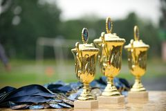 Cup to the winners Stock Photo