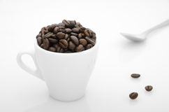 Cup of  toasted coffee beans Stock Image