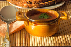 Cup Tomatesuppe Stockbild