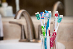Cup of Toothbrushes Royalty Free Stock Photography