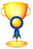 A cup trophy with a blue ribbon Royalty Free Stock Photos