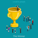 Cup trophy successful winner business flat 3d vector isometric. Cup trophy successful winner flat 3d isometry isometric business success concept web infographics Stock Photos