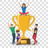 Cup trophy successful winner flat business success concept vector illustration. vector illustration