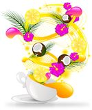 Cup with tropical flavour. Cup with spiral of tropical fruit and flower Royalty Free Stock Photos