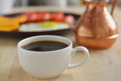 Cup of Turkish coffee and cezve Stock Photo
