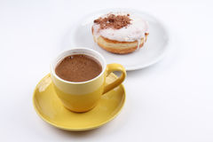 A Cup of Turkish Coffee and a Donut Royalty Free Stock Photography