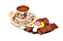 A cup of Turkish coffee isolated Royalty Free Stock Photos