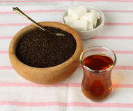 Cup of Turkish tea. And sugar lumps Stock Photo