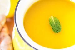 a cup of Turmeric Tea with lemon and ginger , Benefits for reduc Stock Photo