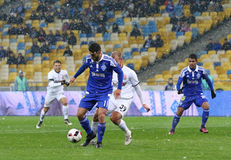 Cup of Ukraine: FC Dynamo Kyiv v Zorya Luhansk in Kiev. KYIV, UKRAINE - OCTOBER 26, 2016: Junior Moraes of FC Dynamo Kyiv #11 controls a ball during Cup of royalty free stock image