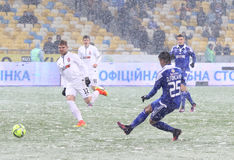 Cup of Ukraine: FC Dynamo Kyiv v Zorya Luhansk. KYIV, UKRAINE - OCTOBER 26, 2016: Derlis Gonzalez of FC Dynamo Kyiv (in Blue) scores a goal during the Cup of stock photography