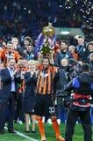 Cup of Ukraine Final 2017. Shakhtar v Dynamo Kyiv. KHARKIV, UKRAINE - MAY 17, 2017: FC Shakhtar Donetsk - the winner of Cup of Ukraine 2017. Shakhtar won 1-0 in stock images