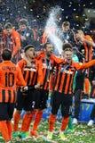 Cup of Ukraine Final 2017. Shakhtar v Dynamo Kyiv. KHARKIV, UKRAINE - MAY 17, 2017: FC Shakhtar Donetsk - the winner of Cup of Ukraine 2017. Shakhtar won 1-0 in stock photos